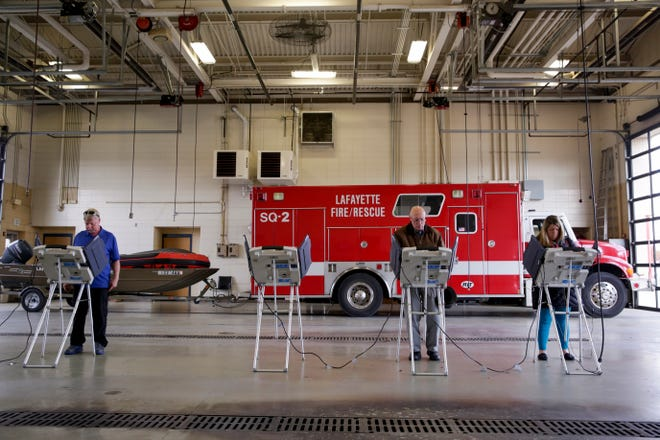 Voters cast their ballots at Lafayette Fire Station #5, Tuesday, Nov. 5, 2019 in Lafayette.