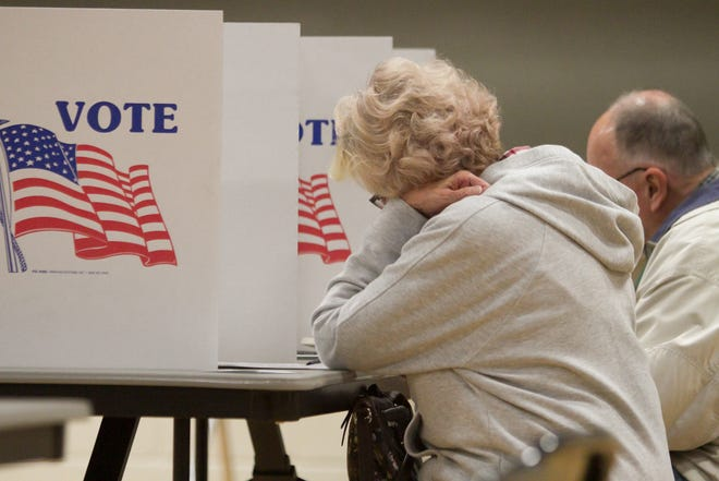 Shari and Norville Schock cast their votes in a Brighton city election Tuesday, Nov. 5, 2019 at the Brighton Education and Community Center, location of precincts three and four.