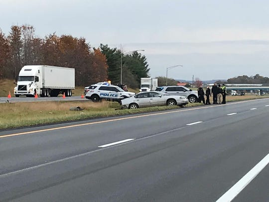 One person died Tuesday morning in a crash involving a vehicle and a semi-trailer on U.S. 30, according to the Richland County coroner's office.