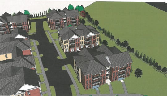 Rendering of a portion of an apartment complex planned in Cordova at the corner of Walnut Grove Road and Huston Levee Road. The complex would include 28 buildings including the leasing office and a clubhouse.