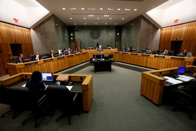 Commissioners talk Monday, Nov. 4, 2019, during a Shelby County Commission meeting at the Vasco A. Smith, Jr. County Administration Building in downtown Memphis.