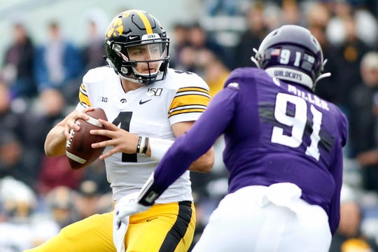 Iowa quarterback Nate Stanley, a graduate of Menomonie High School, leads the Big Ten in passing yards (243.8 yards per game) but has thrown for just 10 touchdowns.