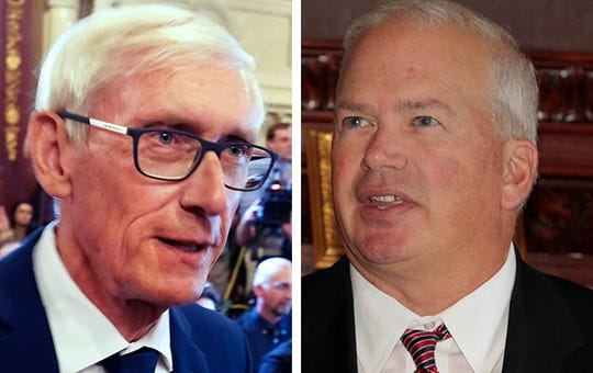 "Gov. Tony Evers said the Republican vote ""nothing short of callous and cruel"" while Senate Majority Leader Scott Fitzgerald, right, said Pfaff 'engaged in partisan political games with the Legislature.'"