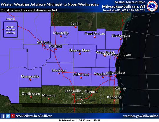 A winter weather advisory has been issued for southern Wisconsin, including the Milwaukee metro area.