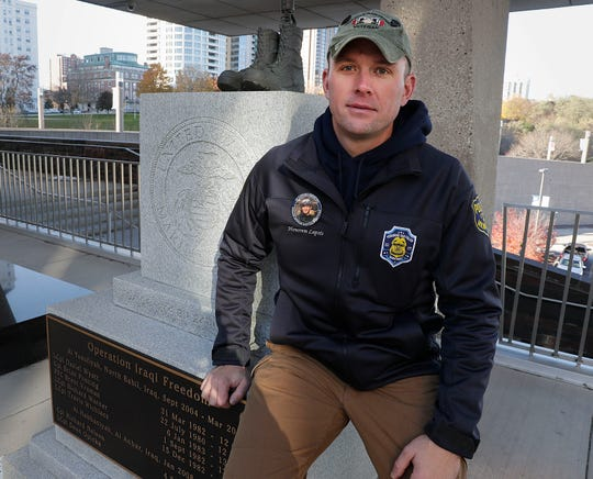 Erik Smith, who served in Milwaukee-based Marine Reserves Fox Company in Iraq, has given presentations in front of a memorial at the War Memorial to the Wisconsin men from Fox Company killed in Iraq. Smith knew each one personally and describes  what they liked to do, what they were like and how they died.