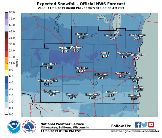 Snow is expected Wednesday across southern Wisconsin, with the heaviest snow forecast across south-central Wisconsin.