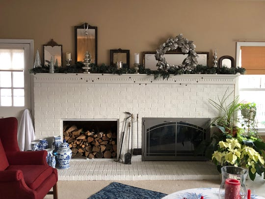 Annie Hahn decorates her fireplace to reflect winter's light.