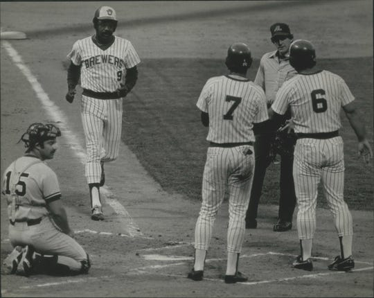 Larry Hisle strolled across the plate Friday to receive the welcome and hearty congratulations of Brewer teammates after a home run in 1978.