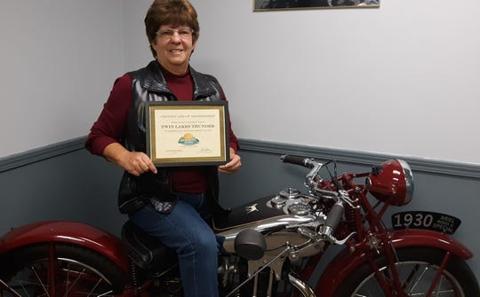 The Mountain Home Area Chamber of Commerce recently inducted Twin Lakes Thunder as members. Membership inductions are for organizations that have served the community for some time and decide to join the Chamber. The Twin Lakes Thunder Rally was held in October. Event organizer Joanna Baxter-Farris (pictured) says the rally this year cleared $12,000 in proceeds to benefit the Bob Davis Veterans Center. The event brought in nearly 3,000 people to the Twin Lakes Area from all over the United States. For more information visit twinlakesthunder.com.