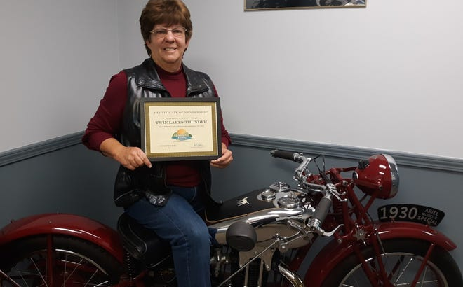 The Mountain Home Area Chamber of Commerce recently inducted Twin Lakes Thunderas members. Membership inductions are for organizations that have served the communityfor some time and decide to join the Chamber. The Twin Lakes Thunder Rally was held in October.Event organizer Joanna Baxter-Farris (pictured) says the rally this year cleared $12,000 in proceeds to benefitthe Bob Davis Veterans Center. The event brought in nearly 3,000 people to the Twin Lakes Area from all over the United States. For more information visit twinlakesthunder.com.