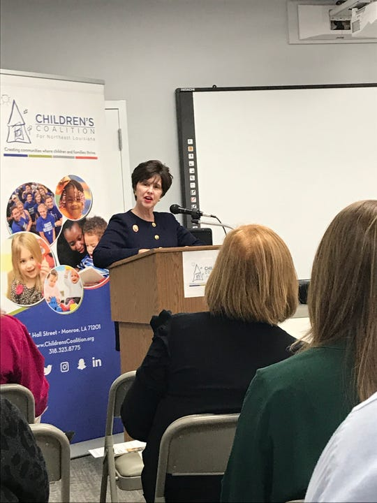 Louisiana Department of Children and Family Services Secretary Marketa Garner Walters addressed a crowd Tuesday in Monroe at the Children's Coalition for Northeast Louisiana.