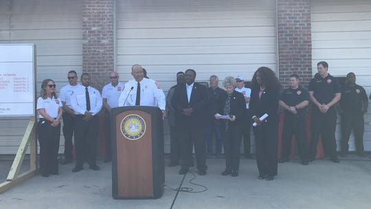 Monroe Fire Chief Terry Williams discusses the new Breard Street and Betin Avenue fire station at a groundbreaking Tuesday.