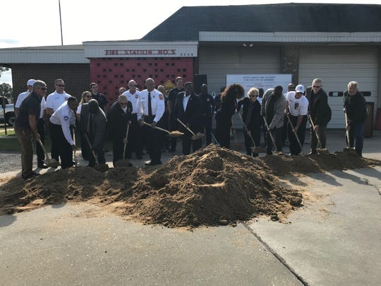 City officials break ground at Breard Street and Betin Avenue for a new fire station.