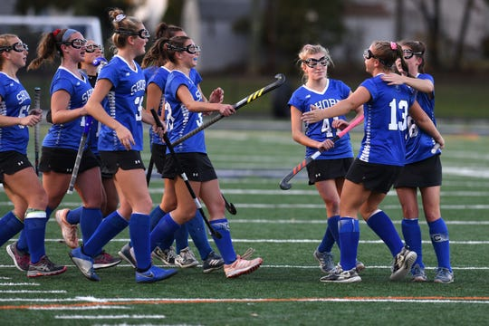 Shore Regional HS defeated Pequannock HS 7-3 in the NJSIAA Group I semifinal on November 5, 2019 in Clark. The Shore celebrates a goal by Lily Santi #13.