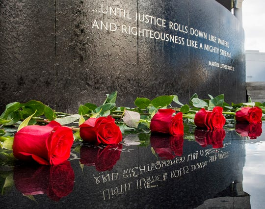 Roses were laid during the Civil Rights Memorial 30th Anniversary Day of Remembrance in Montgomery, Ala., on Tuesday November 5, 2019.