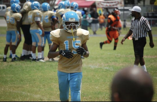 Owen Pappoe during his first-ever football game as a seventh-grader with the Gwinnett Chargers.