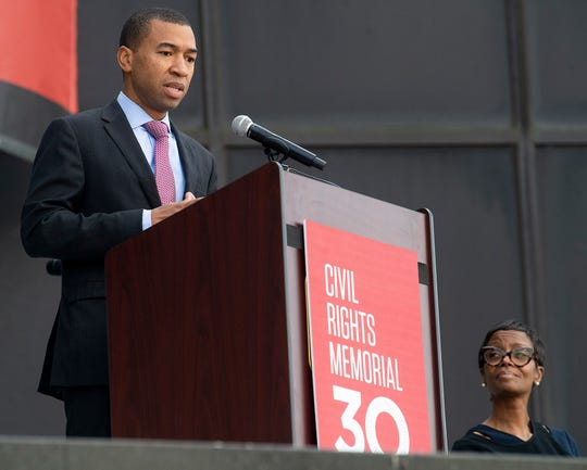 Montgomery Mayor elect Steven Reed speaks during the Civil Rights Memorial 30th Anniversary Day of Remembrance in Montgomery, Ala., on Tuesday November 5, 2019.