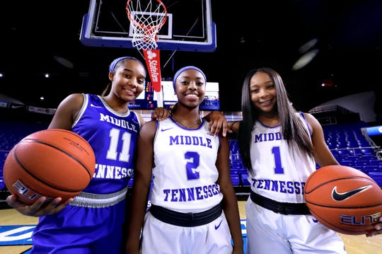 MTSU basketball players and Aislynn Hayes, left, Taylor Sutton, center, and Anastasia Hayes, right, after practice on Monday, Nov. 4, 2019 at MTSU.