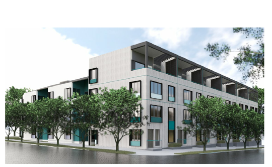 A rendering of a complex of 54 townhome-style units planned for 810 Jefferson St. in North Nashville.