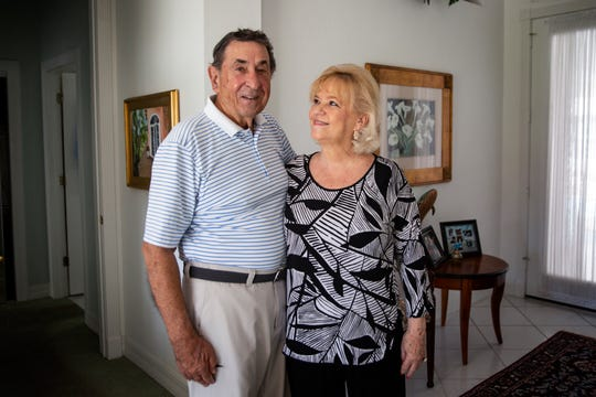 Vince Fazio and his partner Jan Jarrett pose for a portrait Tuesday, Nov. 5, 2019 at their home in Bonita Springs. Fazio served as a Colonel in the United States Air Force.