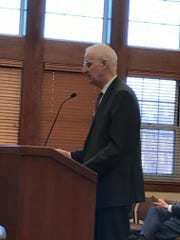 Committeeman Brian Scanlan testifies during hearings on a dispute with Ridgewood Water over rates.
