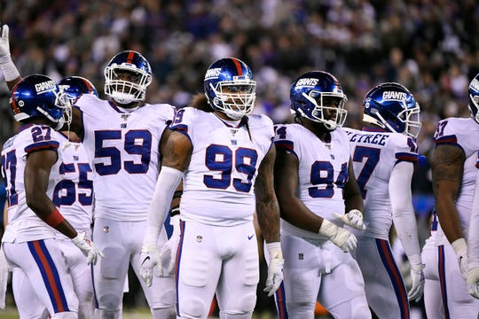 New York Giants lineman Leonard Williams (99) played his first game as a Giant after being traded by the New York Jets. The Dallas Cowboys defeat the New York Giants, 37-18, on Monday, Nov. 4, 2019, in East Rutherford.