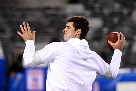 New York Giants quarterback Daniel Jones throws the ball during warmups. The New York Giants host the Dallas Cowboys in NFL Week 9 on Monday, Nov. 4, 2019, in East Rutherford.