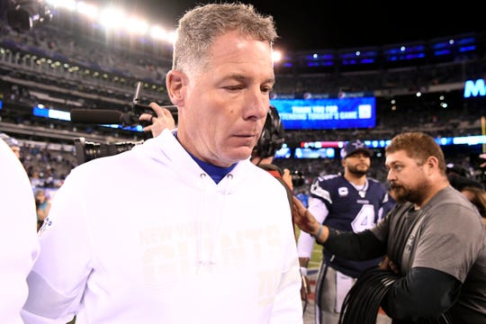 New York Giants head coach Pat Shurmur walks off the field after a 37-18 loss to the Dallas Cowboys at MetLife Stadium on Monday, Nov. 4, 2019, in East Rutherford.