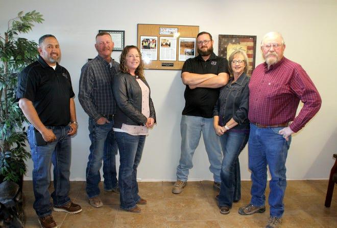 Deming Excavating Inc. front-end staff are, from left, Jesus Escrcega, Jason Jackson, Jami Jackson, Tyler Jackson, Cheri Jack and owner Mike Jackson.