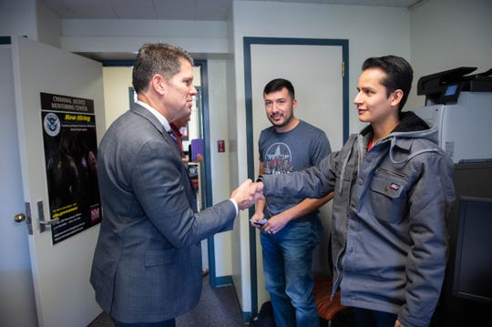 David Lance Bowdich, deputy director of the Federal Bureau of Investigation, took a few mins to speak with Joseph Linares and Alberto Renteria, seniors in the Criminal Justice program at Breland Hall on Nov. 4, 2019.