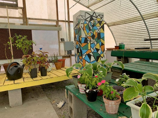 A new nursery project in the greenhouse at La Academia Dolores Huerta charter middle school on Monday, Nov. 4, 2019.