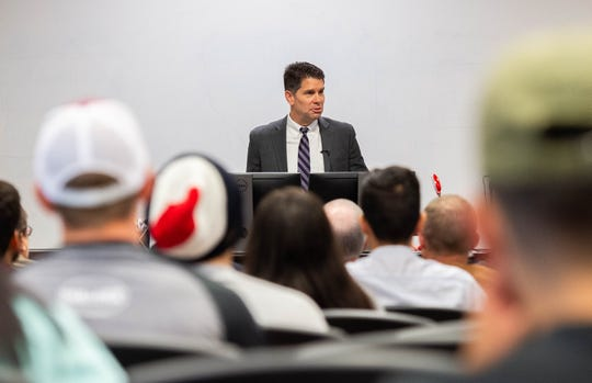 David Lance Bowdich, deputy director of the Federal Bureau of Investigation, speaking to students at the Health and Human Services Building on Nov. 4, 2019.