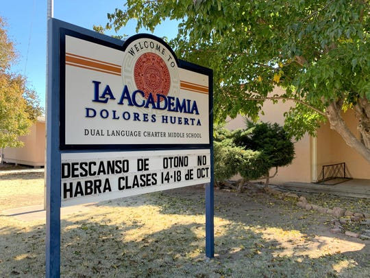 Front entrance to La Academia Dolores Huerta charter middle school in Las Cruces on Monday, Nov. 4, 2019.