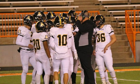The Alamogordo Tigers huddle up during their game against Artesia on Nov. 1, 2019. The Tigers travel to Santa Teresa on Friday to face the Desert Warriors in the first round of the Class 5A playoffs.