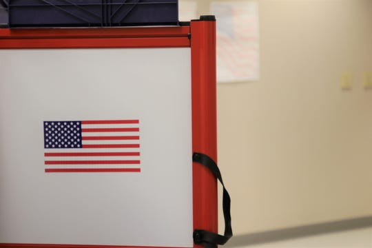A voting booth is seen at the Farmington Museum on Nov. 5, 2019, Election Day.