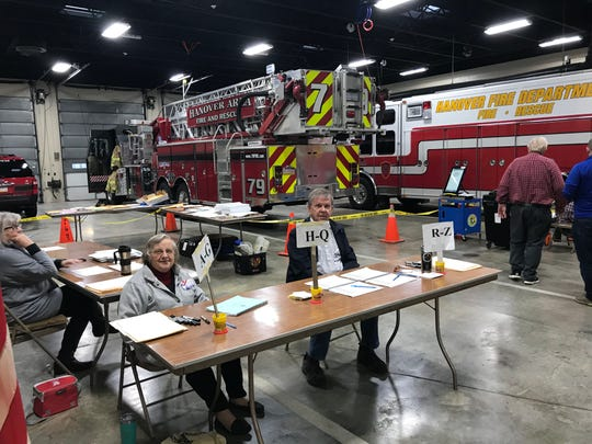 Rita McMaster (left) and Tom Little, both of Hanover, volunteered to help direct voters at the Wirt Park Fire Station, 201 N Franklin St., on Tuesday, Nov. 5, 2019.