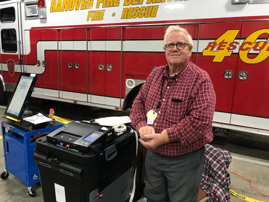 Paul Kercher, of Hanover, was manning the ballot machine at the Wirt Park Fire Station, 201 N Franklin St., on Tuesday, Nov. 5, 2019.