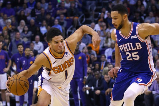 Phoenix Suns guard Devin Booker (1) drives past Philadelphia 76ers guard Ben Simmons (25) during the second half of an NBA basketball game, Monday, Nov. 4, 2019, in Phoenix. The Suns defeated the 76ers 114-109. (AP Photo/Ross D. Franklin)