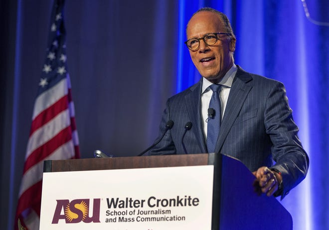 """""""NBC Nightly News"""" anchor Lester Holt gives an acceptance speech after receiving the Walter Cronkite Award for Excellence in Journalism in Phoenix, Arizona, in 2019."""