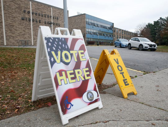 Voting signs outside Poughkeepsie Middle School for Election Day on November 5, 2019.