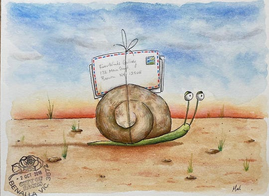 "Mal Webster's ""Snail Mail,"" watercolor, ink and pencil on paper, is part of the ""Air Mail: Artist Postcards from Oz,"" opening Nov. 9 at RiverWinds Gallery in Beacon."