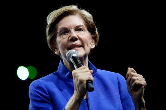 Democratic presidential candidate Sen. Elizabeth Warren (D-MA) speaks during The Iowa Democratic Party Liberty & Justice Celebration on November 1, 2019 in Des Moines, Iowa. (Joshua Lott/Getty Images/TNS)