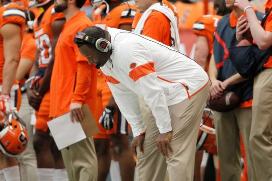 Syracuse head coach Dino Babers reacts on the sidelines in the fourth quarter of last Saturday's 58-27 loss to Boston College last Saturday. Babers fired defensive coordinator Brian Ward the next day.