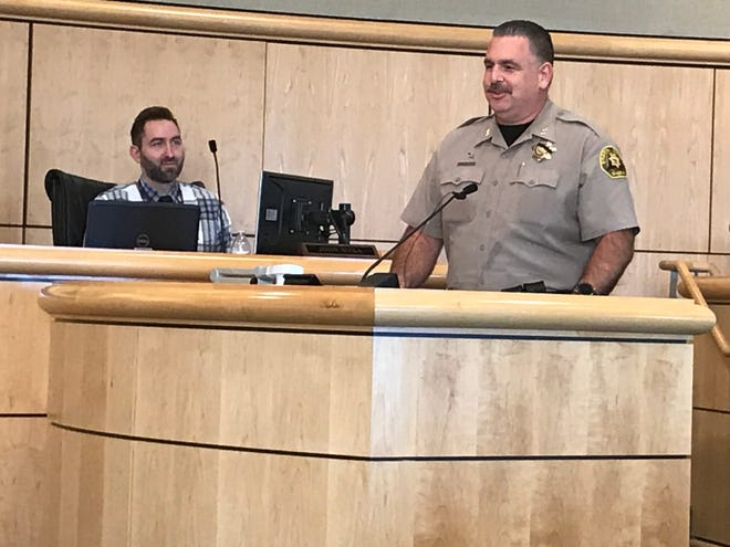 Eric Magrini appears before the Shasta County Board of Supervisors in November 2019, prior to his appointment as the county's sheriff. On Friday, Sheriff Magrini said he questions the constitutionality and probable cause for the types of orders that Gov. Newsom issued Thursday.