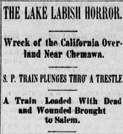These headlines publish in the Capital Journal on Nov. 13, 1890, the afternoon after the fatal train crash at Lake Labish just north of Salem.