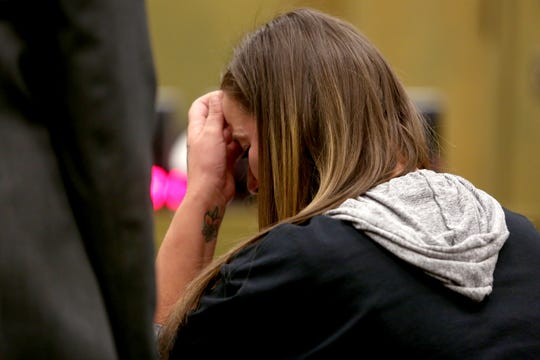 Autumn Coe, the girlfriend of Santiago Amaya, cries while giving a statement during the sentencing of Dyllan Coons, 20, of Dallas, for a hit-and-run and criminally negligent homicide that killed Santiago Amaya at the Polk County Courthouse in Dallas on Nov. 5, 2019. Amaya was hit by Coons' car while walking to work on Sep. 7, 2018 and was left in a ditch until someone found him about an hour later. He died six days later. Coons was sentenced to two years and 10 months in prison.