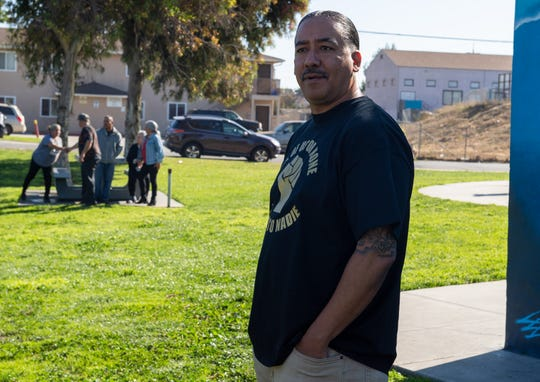 "Israel Villa, is preparing to talk to members of the media during his press conference at La Paz Park in East Salinas on Tuesday, Nov. 05, 2019. ""I remain strong, striving, and pushing forward, I remain committed to a path of healing for myself, my family and my community."" said Villa during his press conference."