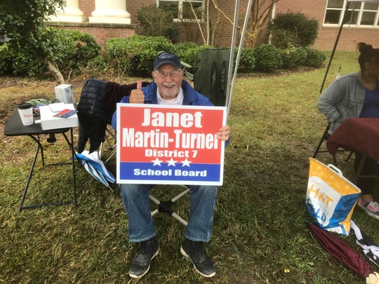 Accomack County Supervisor Paul Muhly give a thunbs up in support of Accomack School Board candidate Janet Martin-Turner at the polling place at Nandua Middle School in Onley, Virginia on Tuesday, Nov. 5, 2019. Voters for the first time elected school board members in Accomack County, Virginia.