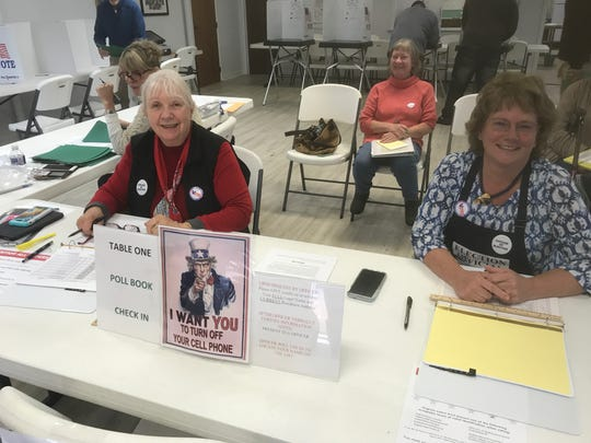 Election officers Susan Kovacs, left, and Marianne Ward are kept busy during the Nov. 5, 2019 election at Northampton County, Virginia's District 4 polling place, at Johnson's United Methodist Church in Machpongo, Virginia.