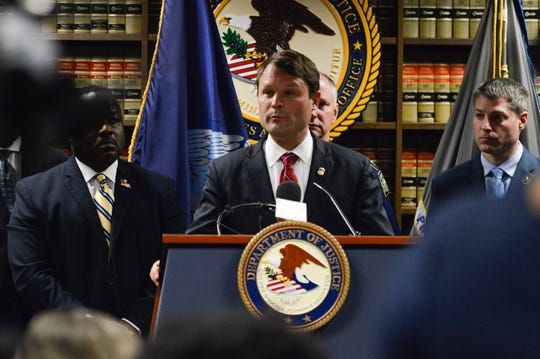 U.S. Attorney David Joseph speaks Tuesday, Nov. 5, 2019, during a news conference in the U.S. Attorney's Office at the Tom Stagg U.S. Courthouse located in downtown Shreveport.